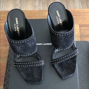 NWT Saint Laurent Oak Studded Mule